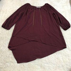 Cato women's quarter sleeve long blouse size large